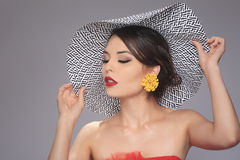 Lovely Fashionable Woman Wearing a Hat Stock Photography