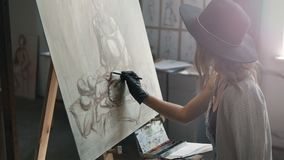 Female Artist Draws Sketch stock footage