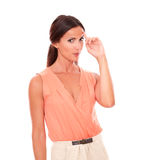 Lovely female with elegant skirt wondering Royalty Free Stock Image
