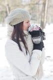 Lovely Female Enjoying Drinking Hot Tea Royalty Free Stock Images