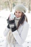 Lovely Female Enjoying Drinking Hot Tea Royalty Free Stock Photo