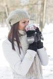 Lovely Female Enjoying Drinking Hot Tea Stock Photo