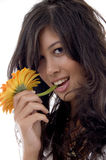 Lovely female with gerbera Royalty Free Stock Photo