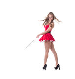 Lovely female Santa posing with electrode Royalty Free Stock Photo
