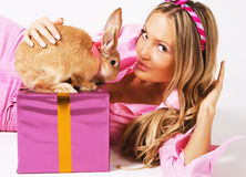 Lovely Festive Woman With A Rabbit Royalty Free Stock Photography