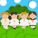 Lovely first communion card. Adorable card first communion, praying group of children Stock Photo