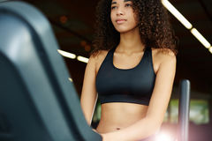 Lovely fitness coach sports club warming up before work Stock Images