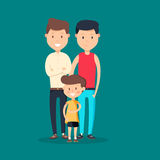Lovely flat design vector illustration on gay family. Two adult men and small baby standing together. Husband and husband holding toddler. Gay parents with Stock Photos