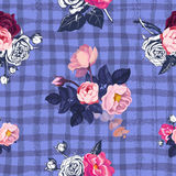 Lovely floral seamless pattern with semi-colored bunches of pink roses against purple background with grungy intersected. Paint trails. Vector illustration for Stock Photography