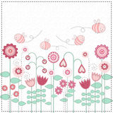 Lovely flowers and the cute bees Royalty Free Stock Photo