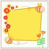 Lovely flowers and the cute bees. Vector card with lovely flowers and the cute bees Stock Image