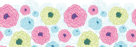 Lovely flowers horizontal seamless pattern Stock Images