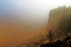Lovely foggy Canyon. Foggy Landscape Picture of a November Canyon in Bavaria Stock Photo