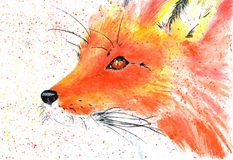 Lovely forest resident red fox. Watercolor illustration. Red-haired fox on white background, spray of paints. Watercolor illustration Stock Photography