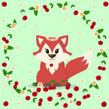 Lovely fox with cherries and flowers. Illustration of a fox in a cartoon style that sits in a circle of flowers and cherries Royalty Free Stock Photography