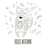 Lovely fox with the jar of jam in her paws. Handwriting inscription Hello autumn. Vector illustration. Royalty Free Stock Photos