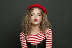 Free Lovely French Woman On Black Background Portrait Stock Photography - 214879652