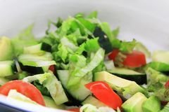 A lovely, fresh bucket of salads gives a meal the essential balance to feed a hungry body. Tomatoes, cucumber, avacado and lettuce. Offer a tasty salad royalty free stock photography