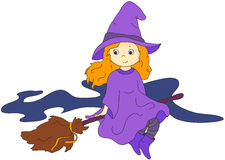 Lovely friendly witch flying on a broomstick. Vector illustratio Royalty Free Stock Photo