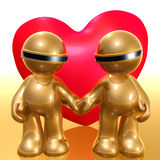 Lovely funny 3d icon. Illustration with big heart Stock Photo