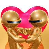 Lovely funny 3d icon holding hand. Lovely funny 3d icon illustration with big heart behind Royalty Free Stock Image