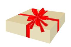 Lovely Gift Box with Red Ribbon Royalty Free Stock Photo