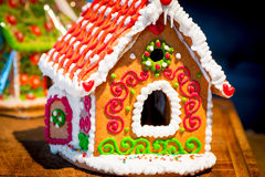 Lovely gingerbread house is beautifully decorated Royalty Free Stock Photos