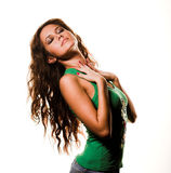 Lovely girl. Picture of lovely girl in blue jeans and green shirt royalty free stock photos