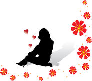 Lovely Girl. Sitting lovely girl vector silhouette valentine's day Royalty Free Stock Photo