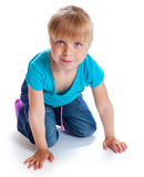 The lovely girl is on all fours Stock Image