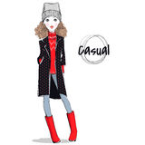 Lovely girl in autumn-winter clothes Stock Photo