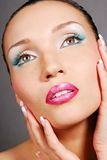 Lovely girl with beautiful eye. Beautiful face. Blue make-up for eyes. Green eyes stock photos