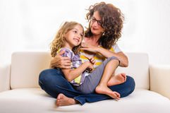 Lovely girl beautiful mother Royalty Free Stock Photos