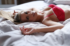 Lovely girl in bed Royalty Free Stock Photo