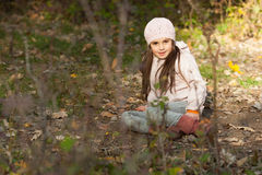 Lovely girl in a beret in the forest Stock Images