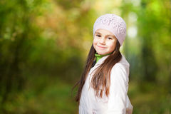 Lovely girl in a beret in the forest Royalty Free Stock Photography