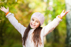 Lovely girl in a beret in the forest Stock Photography