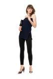 Lovely girl in a black leggings. Isolated Stock Photos