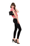 Lovely girl in a black leggings. Isolated Royalty Free Stock Image