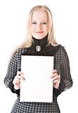 Lovely girl blonde with sheet of paper Stock Images