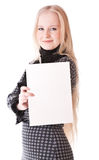 Lovely girl blonde with sheet of paper Royalty Free Stock Images