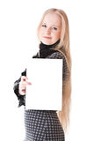 Lovely girl blonde with sheet of paper Stock Photo