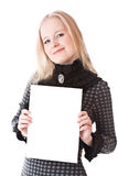 Lovely girl blonde with sheet of paper. Isolated on white Royalty Free Stock Photo