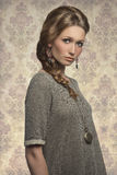 Lovely girl with braid hair-style Royalty Free Stock Images