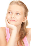 Lovely girl. Bright picture of lovely girl over white Royalty Free Stock Images