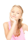 Lovely girl. Bright picture of lovely girl over white royalty free stock photo