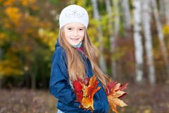 Lovely girl  with a bunch of leaves Royalty Free Stock Photography