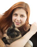Lovely girl with  cat Royalty Free Stock Photo