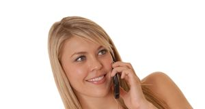 Lovely Girl on Cell Phone royalty free stock photography