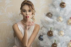 Lovely girl in christmas holidays Stock Images